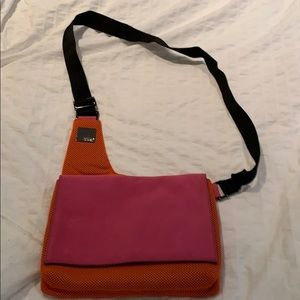 Orange mesh purse with pink suede flap